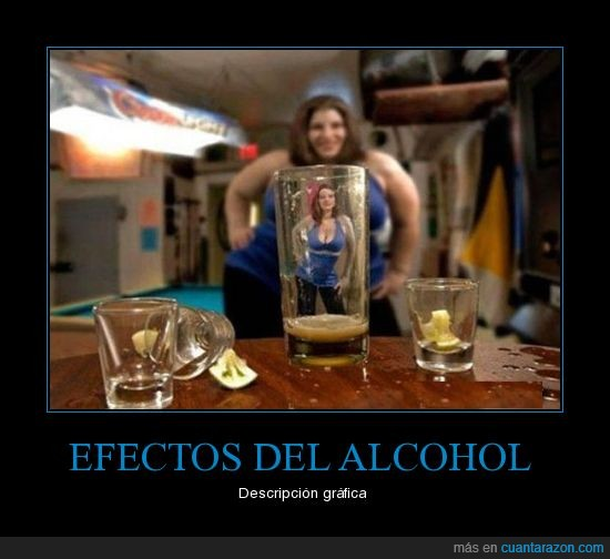 alcohol,chica,descripcion grafica,efectos