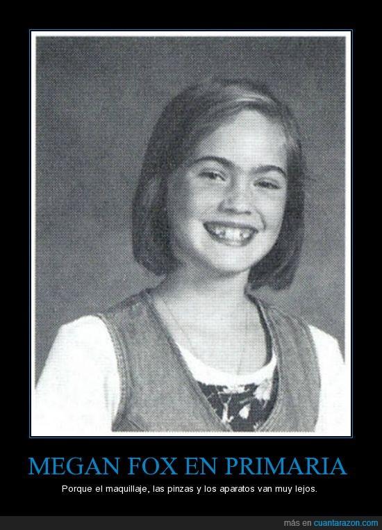 cejas,dientes,maquillaje,Megan Fox,niña,primaria