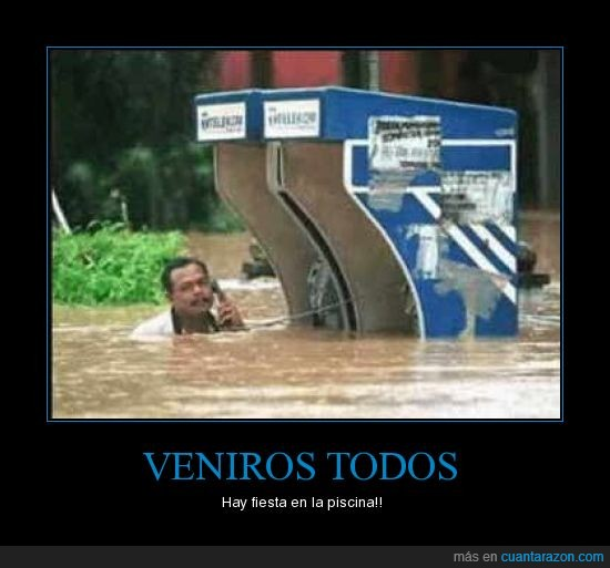 cabina,fiesta,humor,inundacion,negro,piscina,telefono