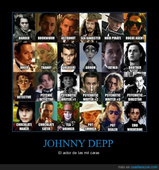 actor,Johnny Depp,mil caras