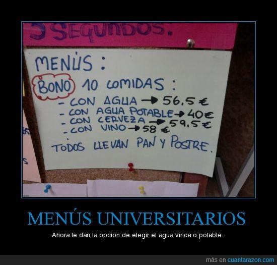agua,menús,universidad