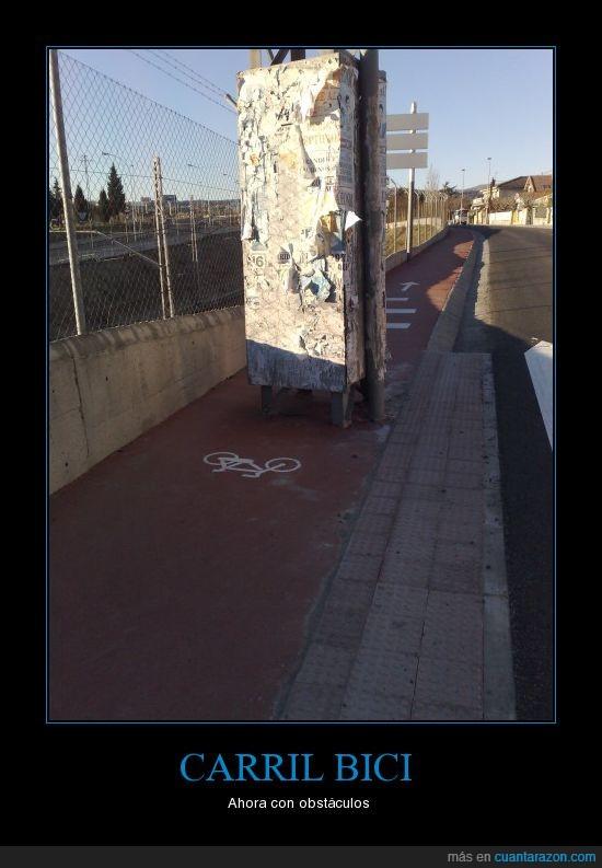 bici,carrilbici,obstáculos,torreta