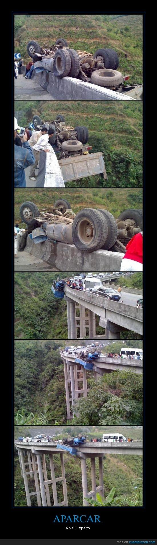 aparcar,coche,puente