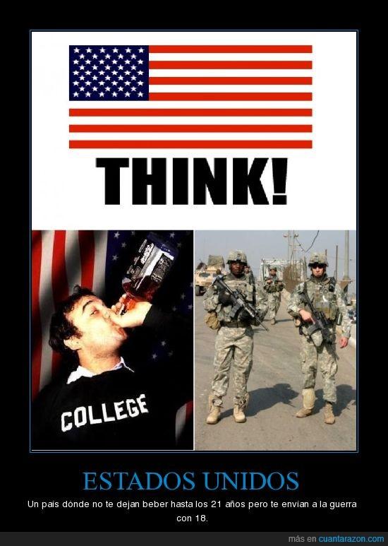Estados Unidos Alcohol Guerra 21 18 años