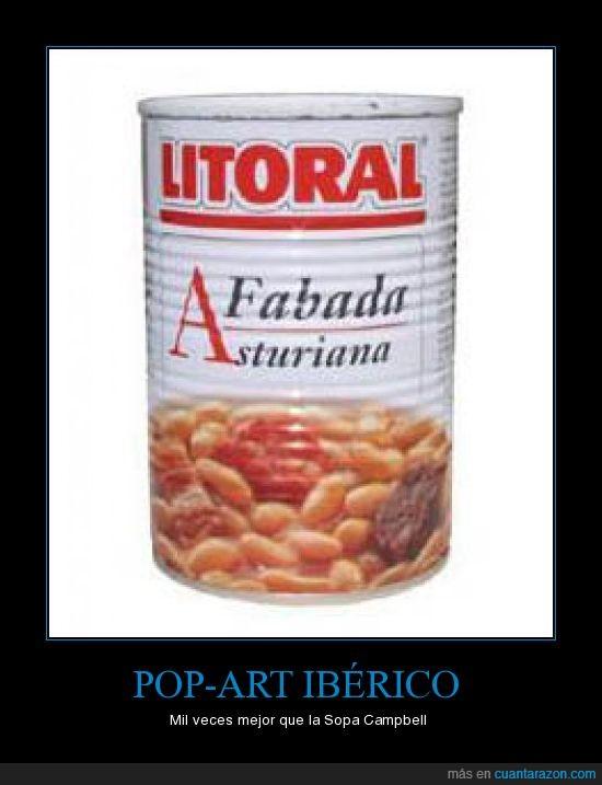 campbell,comida,fabada asturiana,literal,popart