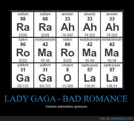 Cunta razn lady gaga bad romance cancinelementos qumicos urtaz Image collections