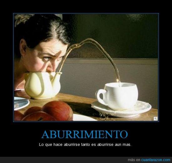 aburrido,agua,cafe,taza,tetera