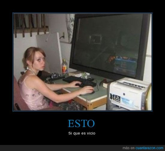 chica,gigante,jugar,ordenador,pantalla