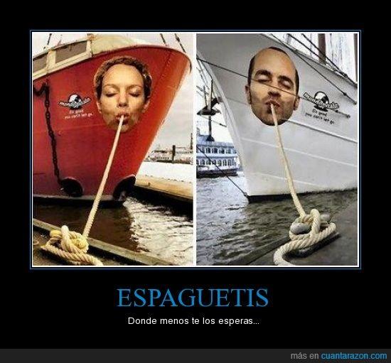 barco,cuerda,curioso,espaguetis,publicidad