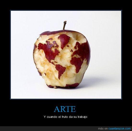 arte frutal,dientes de miguel angel,manzamundi,manzana