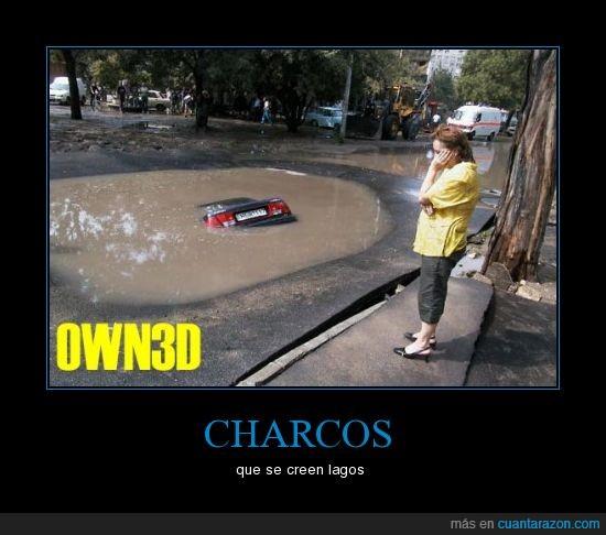 charco,coche,fail,lago