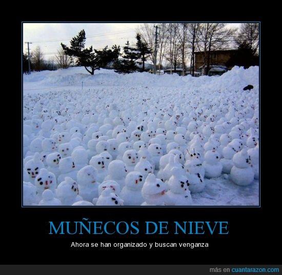 multitud,muñeco de nieve,nieve,venganza