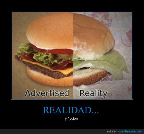 ficción,hamburguesa,realidad,timo