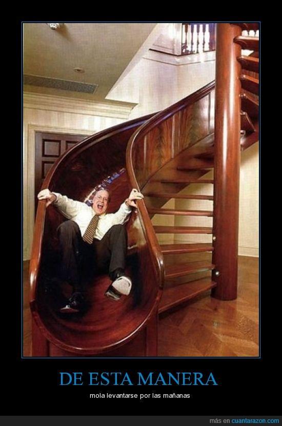 escalera,humor,mañana