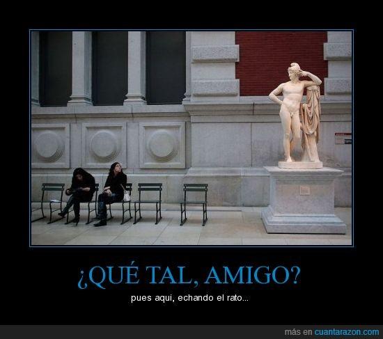 amigo,conversacion,estatua
