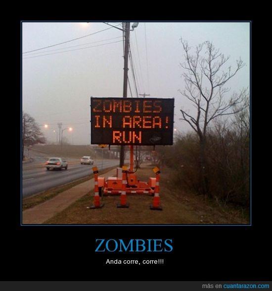 carretera,conos,corre!,señal,zombies