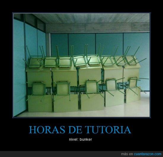 bunker,educación,mesas,movil,sillas