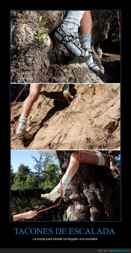 escalada,idiotez póstuma,montaña,sport,tacones