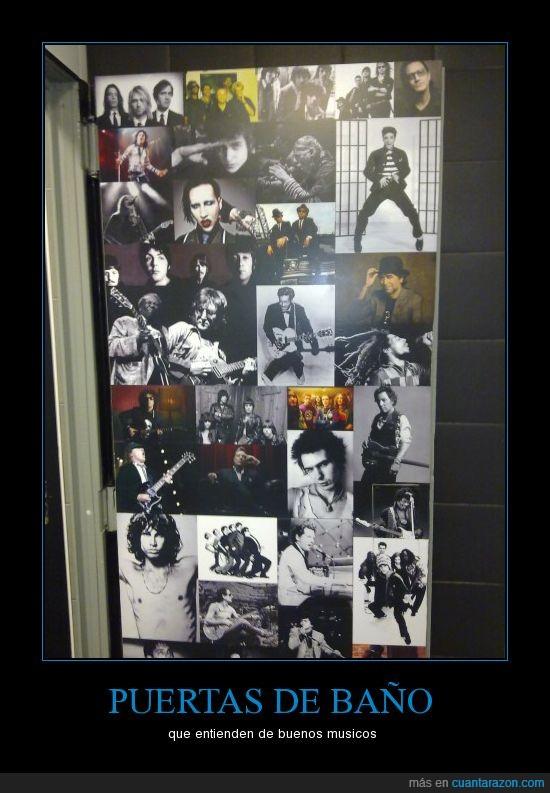 baño,buena musica,movil,poster,puerta