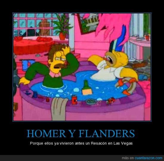 Flanders,Homer,Ned,Resacón,Simpsons,Vegas