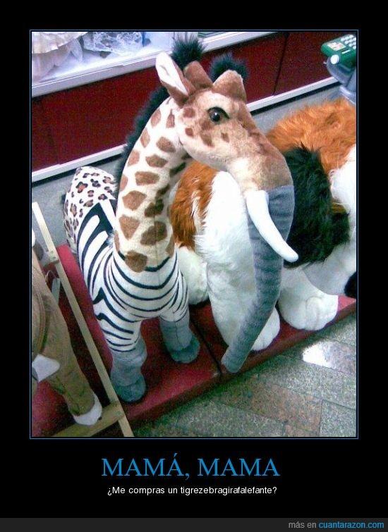 elefante,girafa,oso,peluche,tigre,zebra