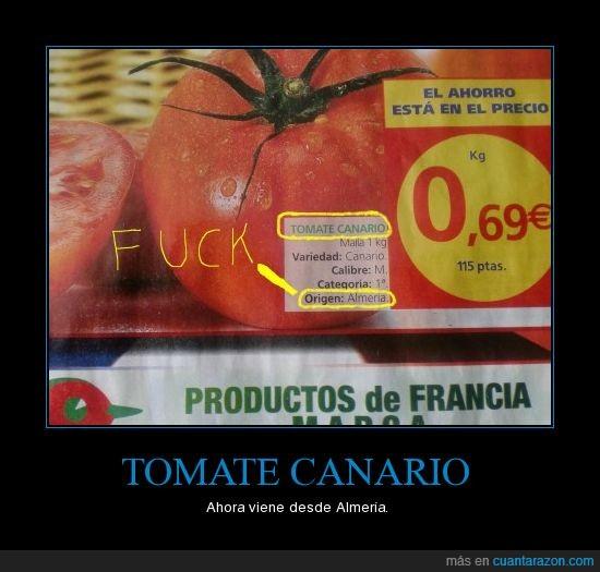 alcampo,almeria,canario,cartel,movil,tomate