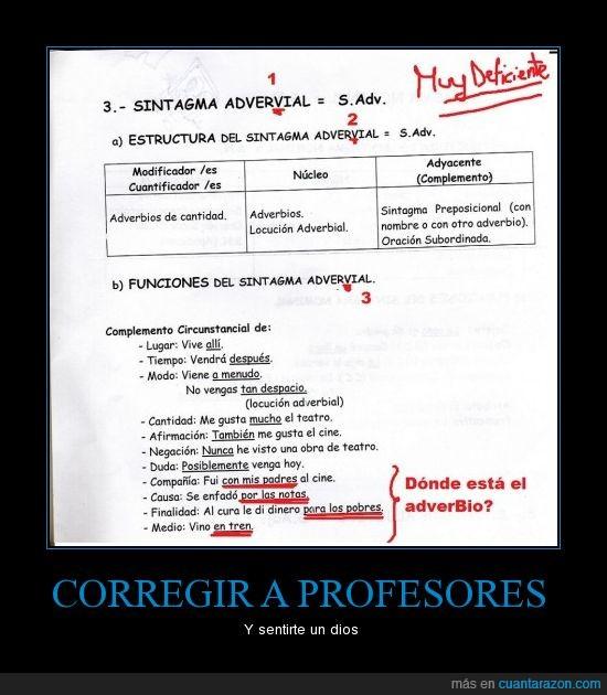 adverbios,incoherencia,inteligente,ortografia,profesora
