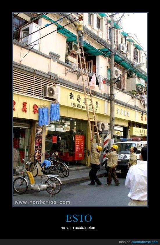 chinos,escalera,seguridad laboral