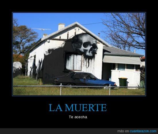 casa,coche,graffiti,muerte