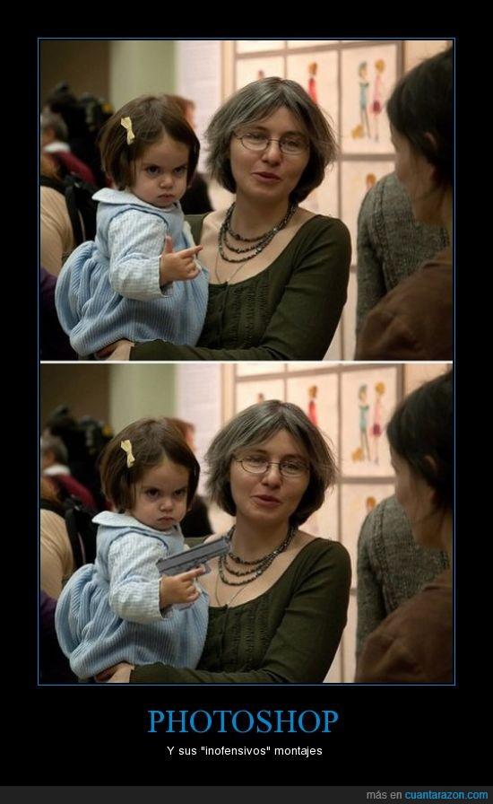 madre,niña,photoshop,pistola