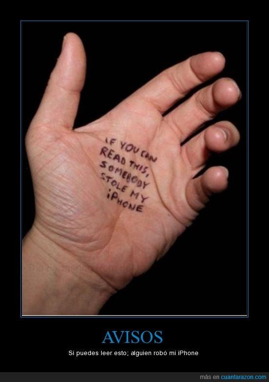 iPhone,ladrón,mano,mensaje,robar