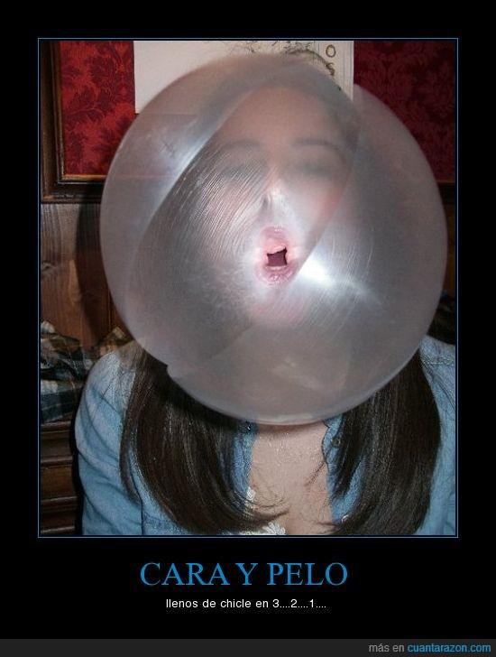 burbuja,cara,chicle,movil,pelo