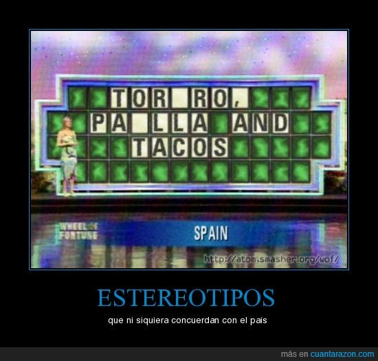 España,estereotipada,mexico,paella,tacos,torero
