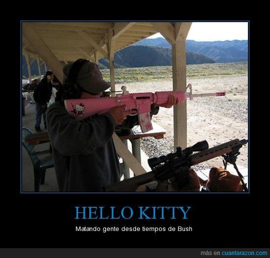 Bush,Hello Kitty,rifle de asalto,rosa