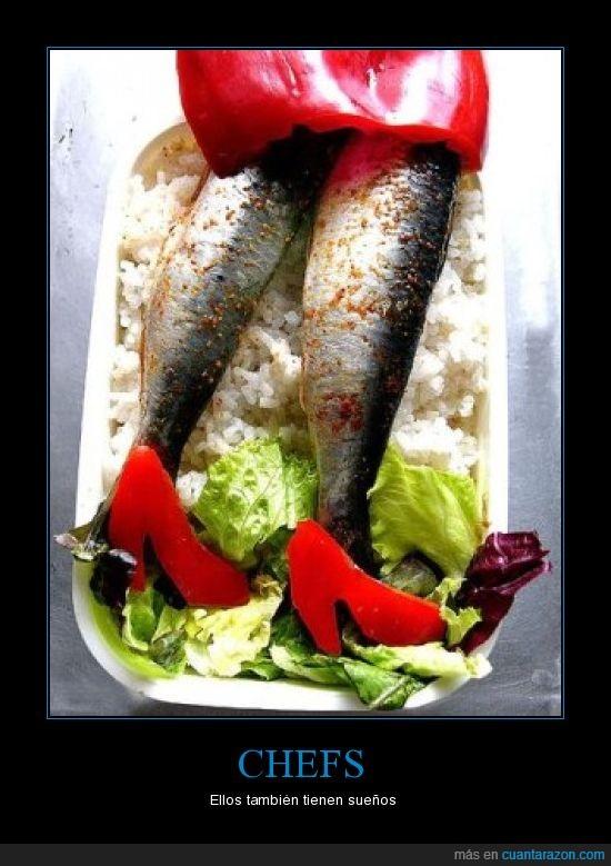 chef,cocinar,comida,mujer,sardina,sueños,zapatos