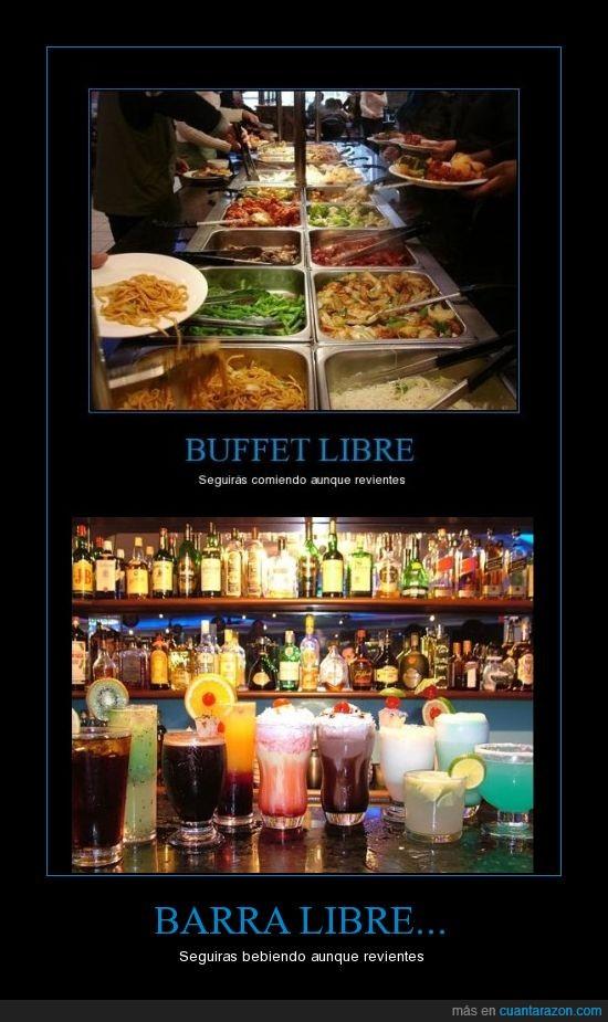 alcohol,barra,beber,buffet,comer,libre