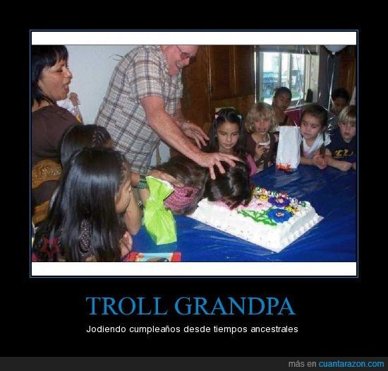 abuelo,cara,cumpleaños,pastel