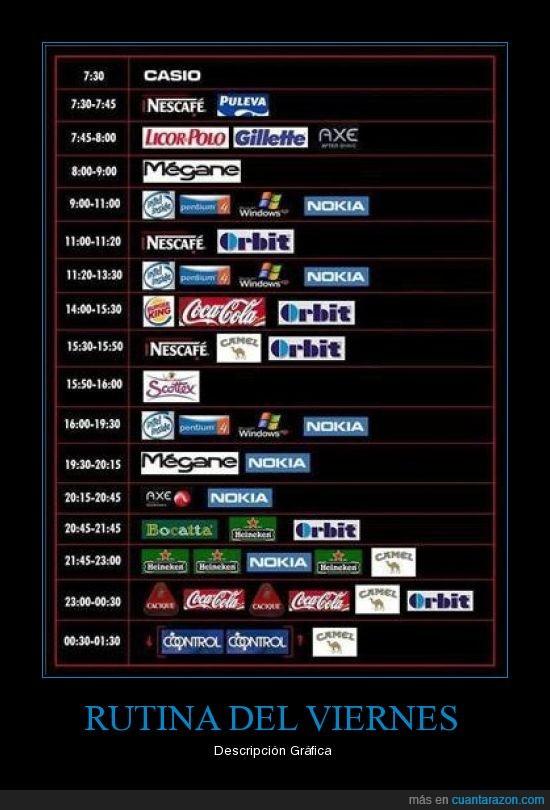 horarios,marcas,rutina