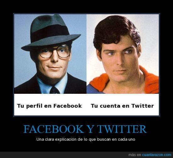cuenta,diferencia,facebook,superman,twitter