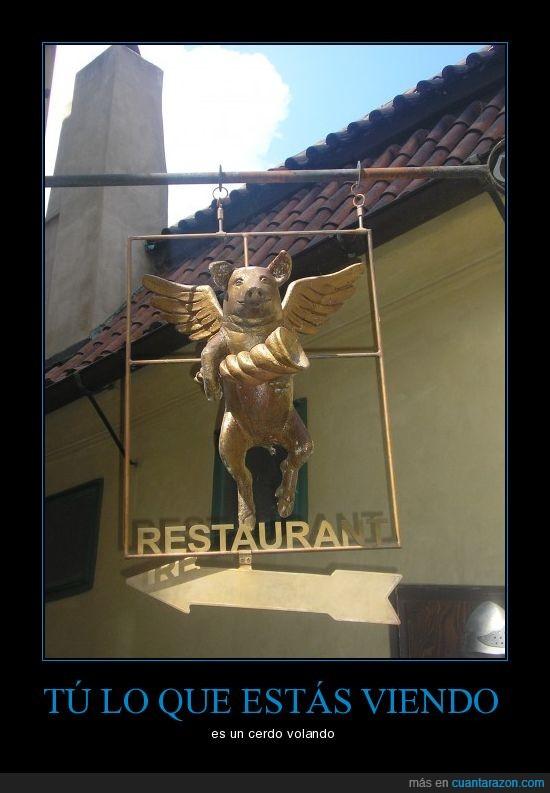 cerdo,figura,restaurante,volando