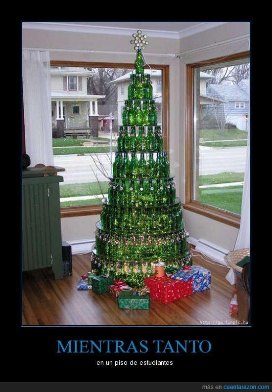 árbol de navidad,cerveza,estudiantes