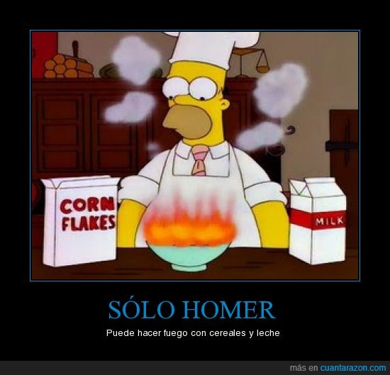 cereales,fuego,homer,leche,simpsons