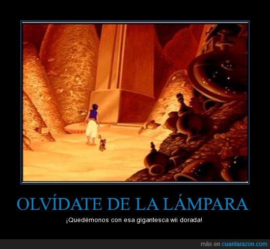 Aladdin,dorada,lámpara,Wii