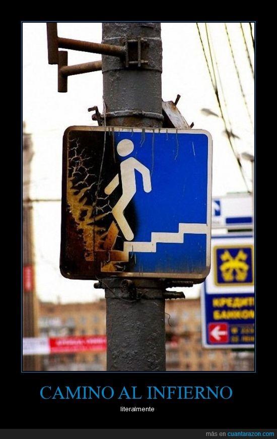 bajar,cartel,escaleras,fuego,infierno,quemado