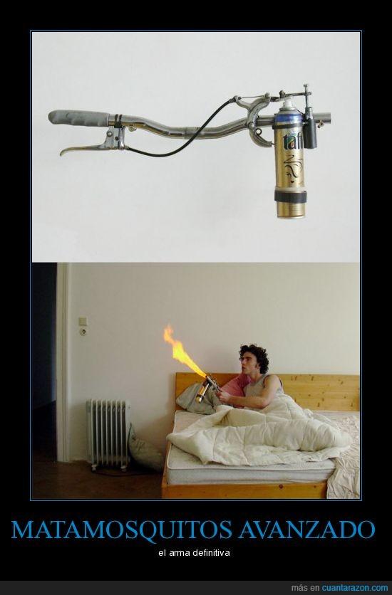 cama,espray,fuego,mosquitos,quemar