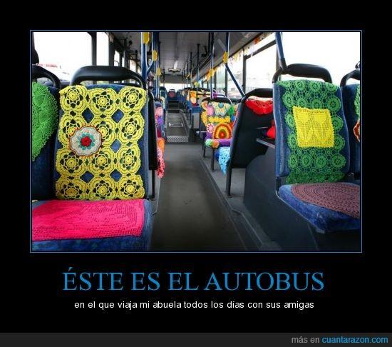 abuelas,autobús,ganchillo