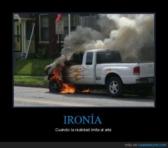 arte,camioneta,fuego,Ironia,realidad