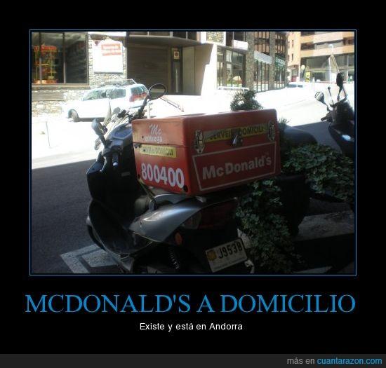 domicilio,fast food,gordo,McDonald's,moto,publicidad