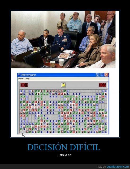 Buscaminas,Decisión,dificultad,Obama