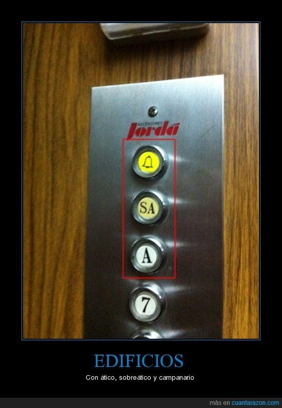 ascensor,atico,botones,campanario,sobreatico
